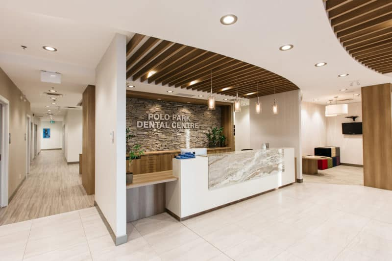 The beautifully designed lobby at PoloPark Dental Centre