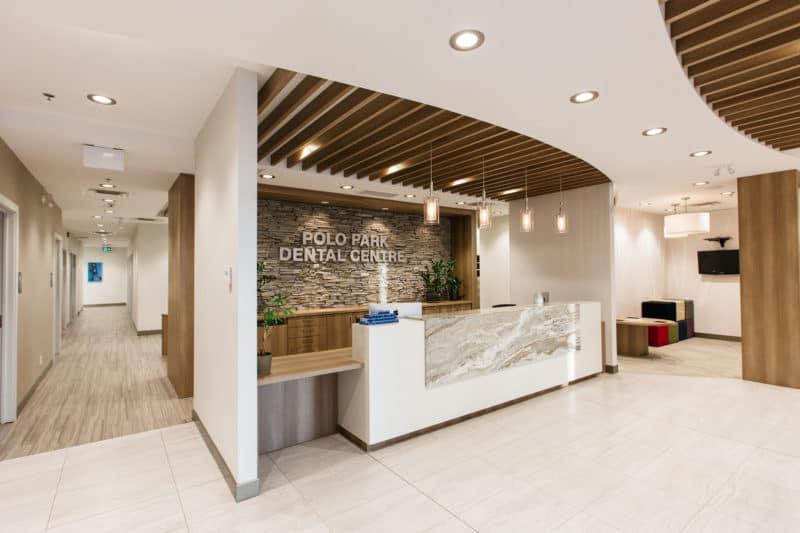 The beautifully designed lobby at PoloPark Dental Centre