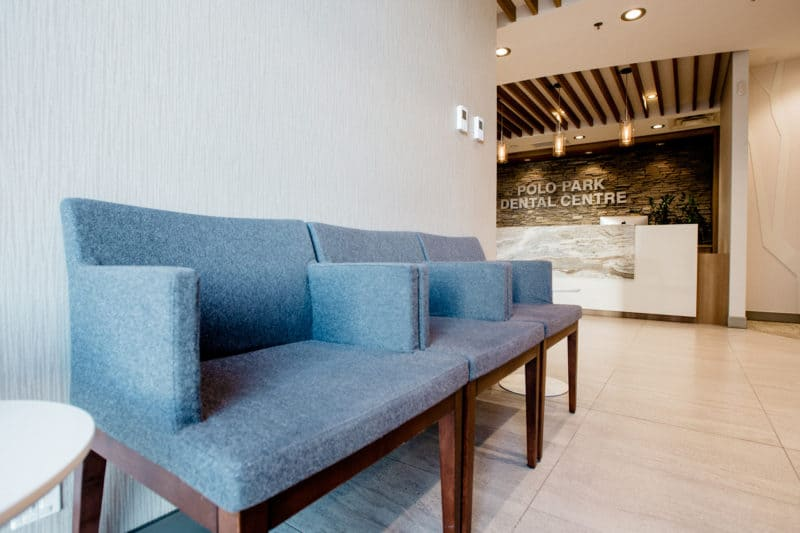Comfortable chairs in the PoloPark Dental waiting area